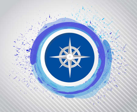 water splash isolated on white background: compass over ink drops design illustration design over a white background