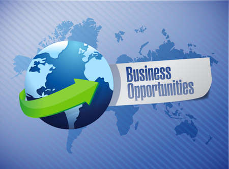 business opportunities sign illustration design over a world map background Zdjęcie Seryjne