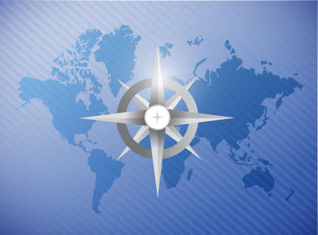 compass rose: grey compass illustration design over a world map background Stock Photo