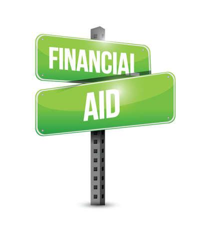 financial aid street sign illustration design over a white background Ilustração