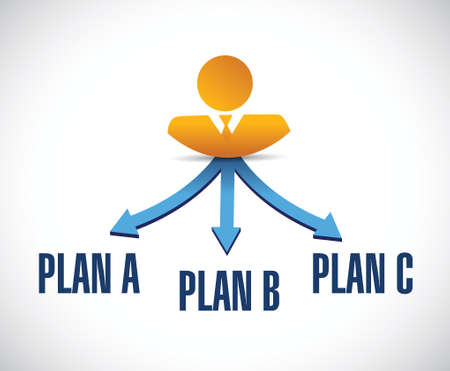 different destinations plan a,b and c illustration design over a white background