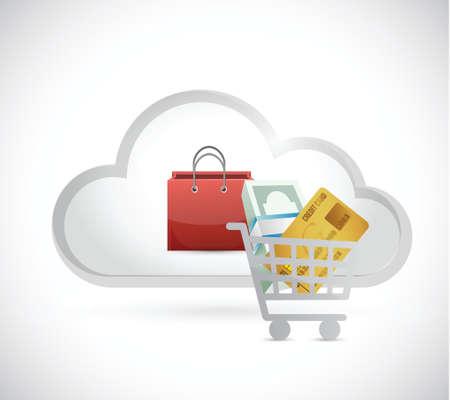 흰색 배경 위에 장바구니 온라인 구름 일러스트 레이션 디자인 일러스트