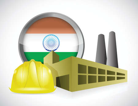 india 3d: india factory illustration design over a white background Illustration