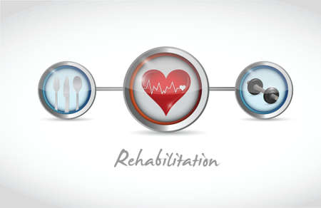 physiotherapist: rehabilitation icons sign illustration design over a white background Illustration