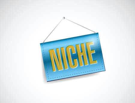niche: niche hanging sign illustration design over a white background