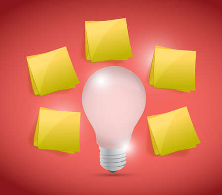 productivity system: idea brainstorming concept illustration design over a red background Stock Photo