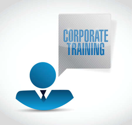 corporate training people avatar message illustration design over a white background