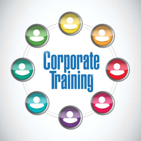 corporate training people network illustration design over a white background