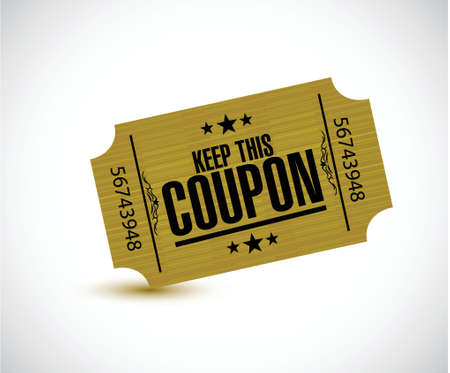 keep this coupon. yellow ticket illustration design over a white background