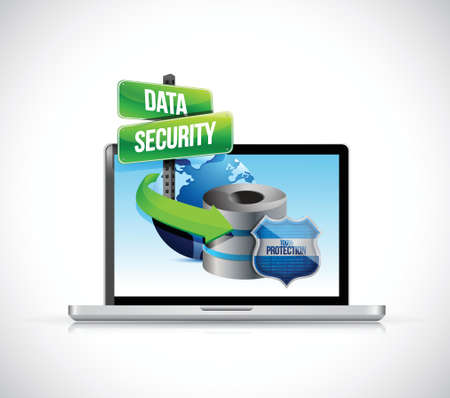 laptop and a data security server and shield illustration design over a white background
