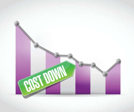 cost down business graph illustration design over a white background Illustration
