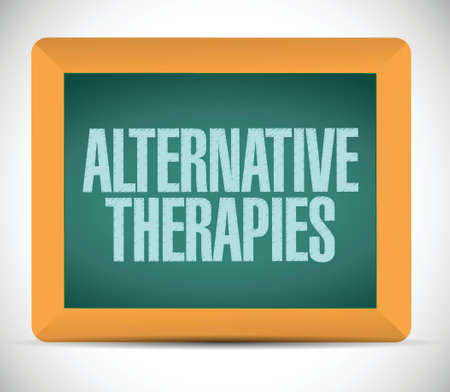 alternative therapies board sign illustration design over a white background