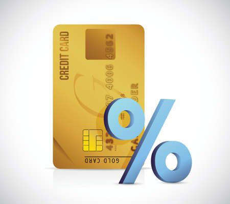 snippet: credit card t and blue percentage illustration design over a white background