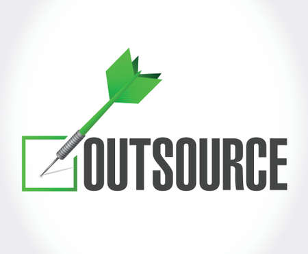 downsizing: outsource dart checkmark illustration design over a white background