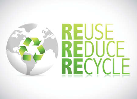 environmental awareness: globe reduce, reuse, recycle sign illustration design over a white background
