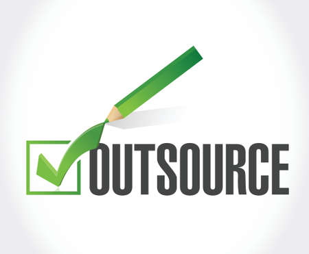 outsource: outsource checkmark illustration design over a white background