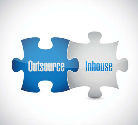 outsourcing: outsource and inhouse puzzle pieces illustration design over a white background