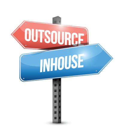 outsource, in-house street sign illustration design over a white background