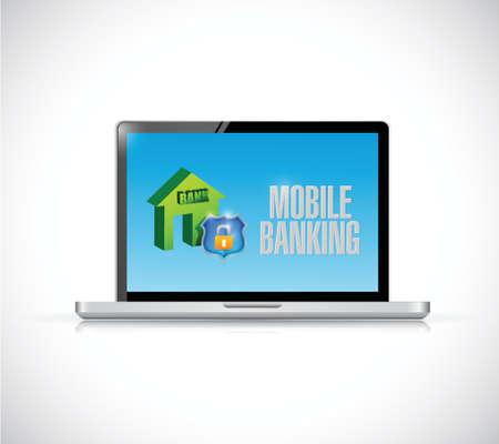 mobile banking: computer mobile banking sign illustration design over a white background Illustration