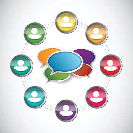 social gathering: people diversity communication diagram illustration design over a white background Illustration