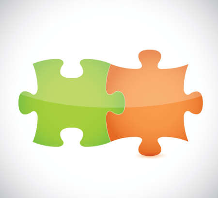 green and orange puzzle pieces illustration design over a white background