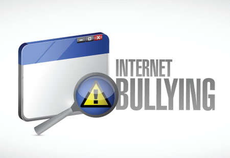 cyber bullying: internet bullying sign and browser concept illustration design over a white background