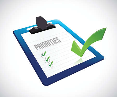priorities: priorities clipboard checklist illustration design over a white background
