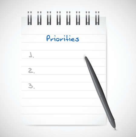 crucial: priorities notepad list illustration design over a white background
