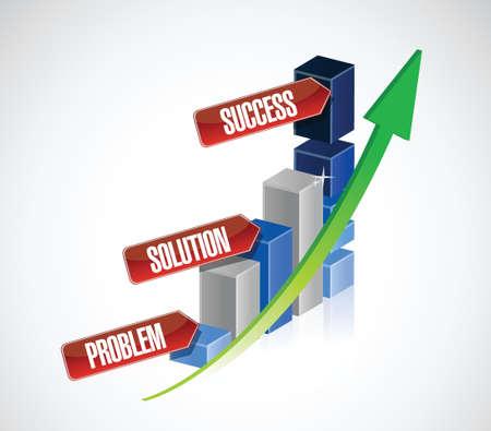 problem, solution, success business graph illustration design over a white background Vector