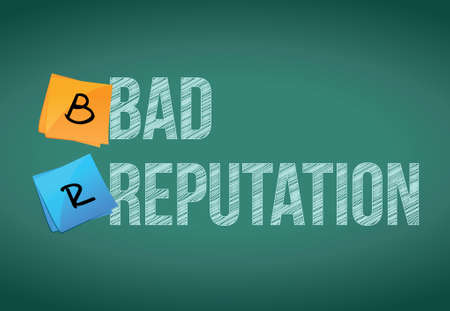 bad reputation illustration design over a chalkboard background