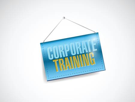 corporate training hanging sign illustration design over a white background