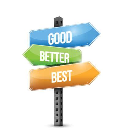 good better best: good, better, best street sign illustration design over a white background Illustration