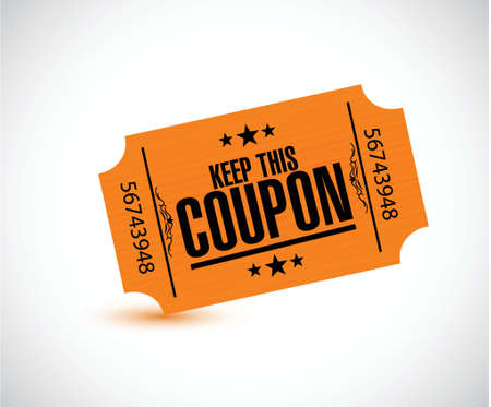 this: keep this coupon. orange ticket illustration design over a white background