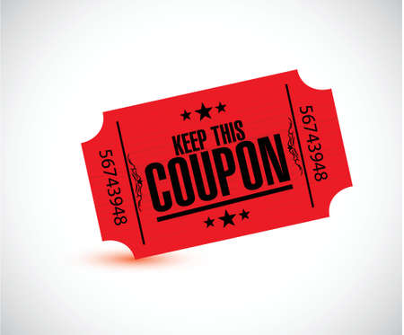 purchased: keep this coupon. red ticket illustration design over a white background