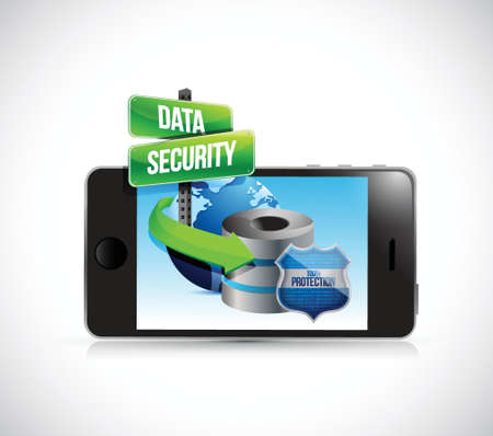 phone and a data security server and shield illustration design over a white background Stock fotó - 34882790