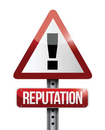 reputation warning sign illustration design over a white background Illusztráció