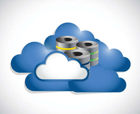 cloud computing and servers illustration design over a white background