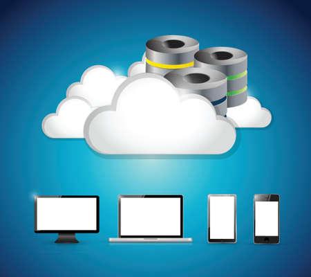 서버와 구름 세트 전자 제품을 이동합니다. 파란색 배경 위에 일러스트 디자인