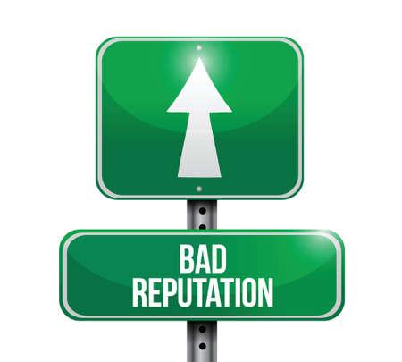 bad leadership: bad reputation street sign illustration design over a white background