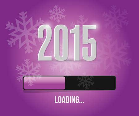2015 loading year bar illustration design over a purple background
