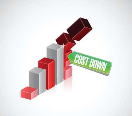 dalende grafiek kosten omlaag grafiek illustratie ontwerp op een witte achtergrond Stock Illustratie