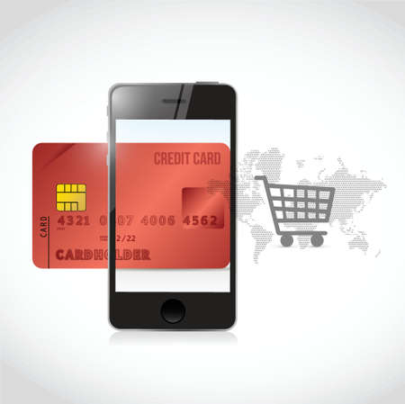 sms payment: red credit cart phone shopping concept illustration design over a white background