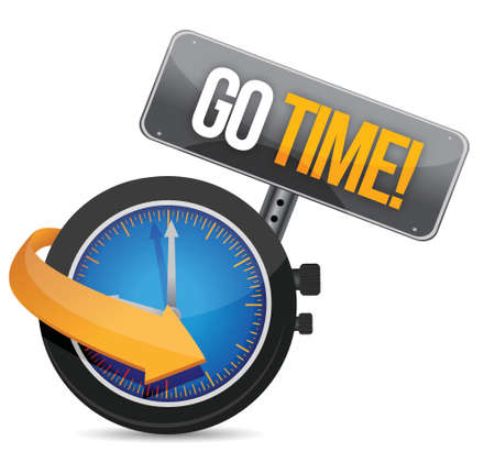 fitness motivation: go time watch sign illustration design over a white background Illustration