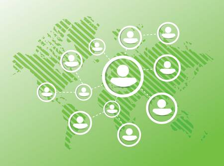 人図ネットワーク図の設計は緑の背景の上