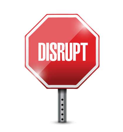disturbing: disrupt street sign illustration design over a white background
