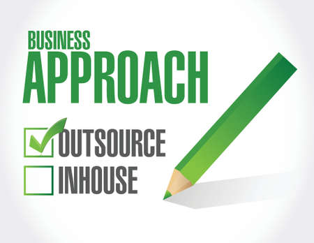 outsource: business approach check list. outsource illustration design over a white background Illustration