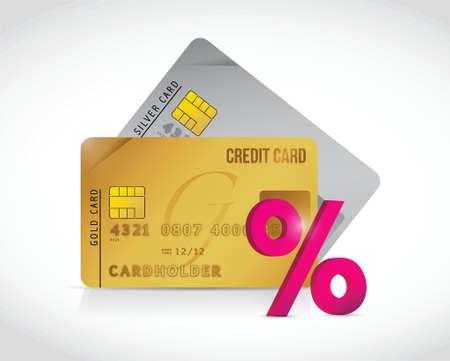 percentage sign: credit card and percentage sign illustration design over a white background