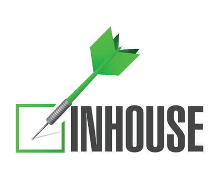 business process: inhouse dart check mark illustration design over a white background