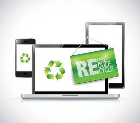 electronic background: recycle electronic concept illustration design over a white background