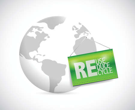 environmental awareness: globe and reduse, reuse, recycle banner illustration design over a white background